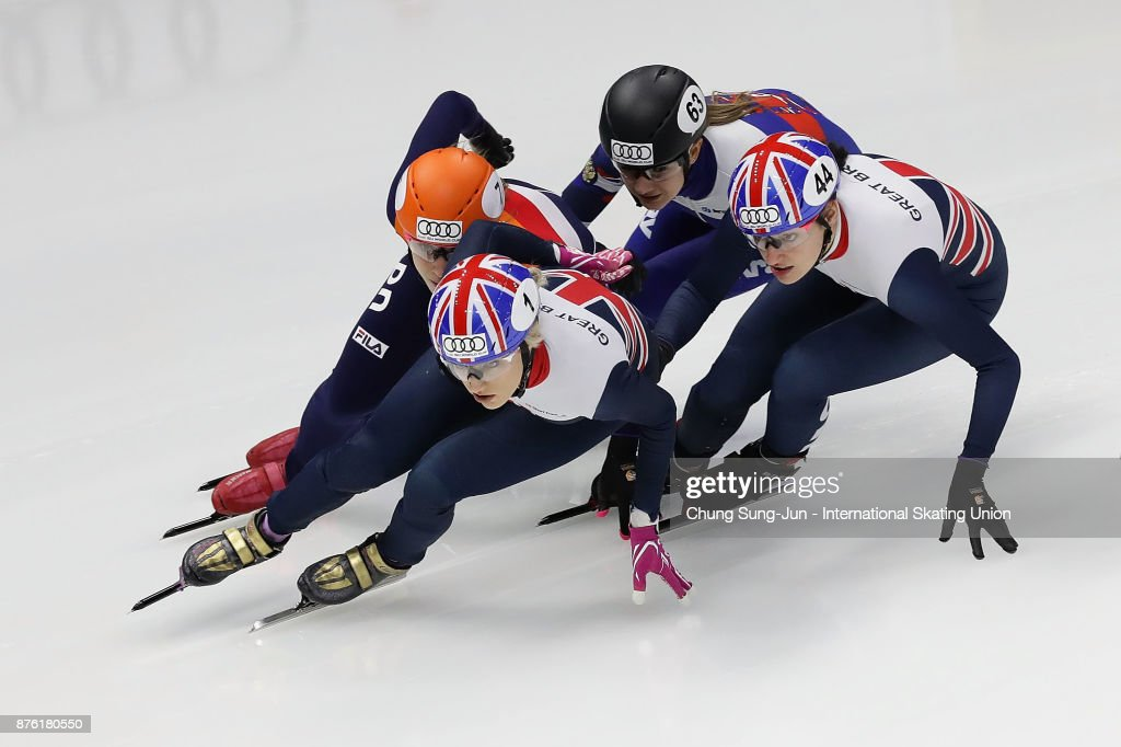 Elise Christie of Great Britain, Suzanne Schulting of Netherlands and Charlotte Gilmartin of Great Britain compete in the Ladies 1000m Quarterfinals during during the Audi ISU World Cup Short Track Speed Skating at Mokdong Ice Rink on November 19, 2017 in Seoul, South Korea.
