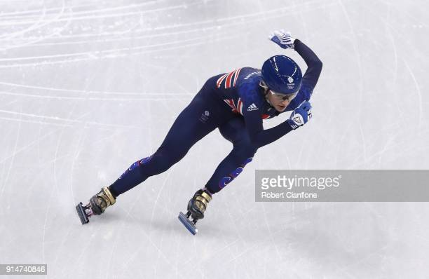 Elise Christie of Great Britain trains during Short Track Speed Skating practice ahead of the PyeongChang 2018 Winter Olympic Games at Gangneung Ice...