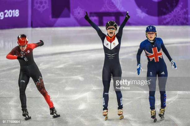Elise Christie of  Great Britain Yara Van Kerkhof of  Netherlands and Kim Boutin of  Canada competing at 500 meter short track speed skating at...