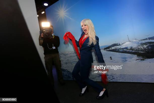 Elise Christie tries on her uniform during the Team GB Kitting Out Ahead Of Pyeongchang 2018 Winter Olympic Games on January 22 2018 in Stockport...