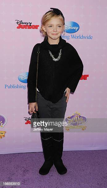 Elise Fisher arrives at the Disney Channel's Premiere Party For 'Sofia The First Once Upon A Princess' at the Walt Disney Studios on November 10 2012...