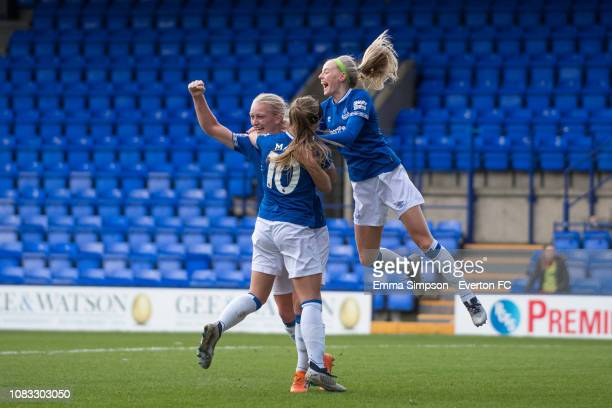 Elise Hughes of Everton Ladies celebrates with team mates after making her first starting appearance during the cup tie against Liverpool FC Women at...
