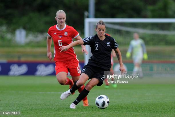 Elise Hughes of Wales vies for possession with Ria Percival of New Zealand during the Women's International Friendly match between Wales and New...