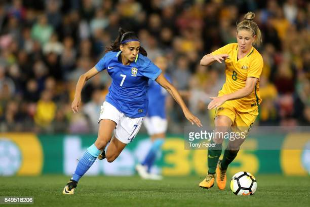 Elise KellondKnight of the Matildas contests the ball with Andressa Alves da Silva of Brazil during the Women's International match between the...