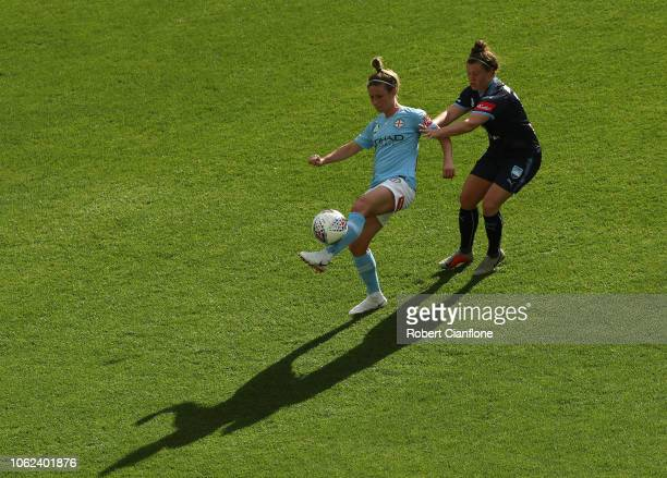Elise KellondKnight of the Melbourne City is challenged by Savannah McCaskill of Sydney FC during the round two WLeague match between Melbourne City...