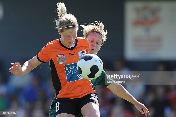 Elise Kellond-Knight of the Roar competes for the ball during the round one W-League match between the Brisbane Roar and Canberra United at AJ Kelly...