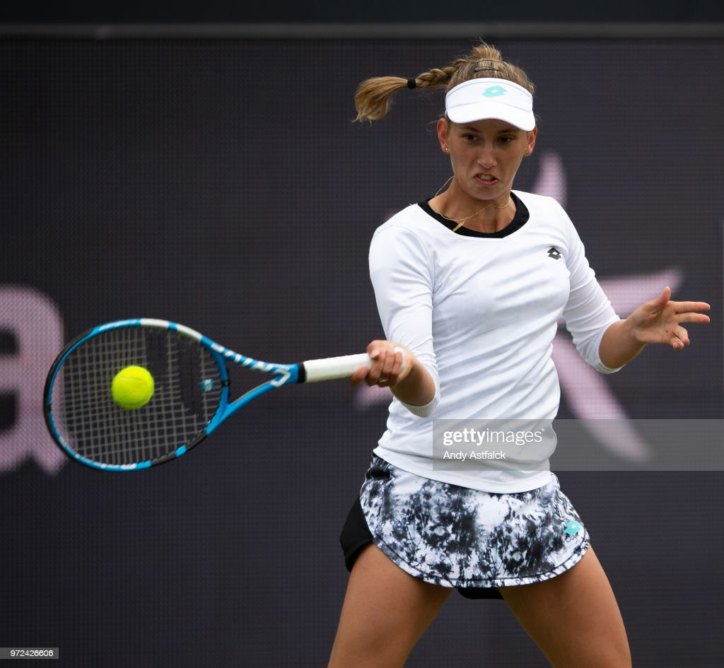 Elise Mertens from Belgium in action against Polona Hercog from Slovania during their First Round, Ladies Singles Match on Day Two of the Libema Open 2018 on June 12, 2018 in Rosmalen, Netherlands.