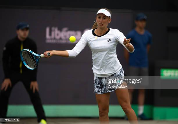 Elise Mertens from Belgium in action against Polona Hercog from Slovania during their First Round Ladies Singles Match on Day Two of the Libema Open...
