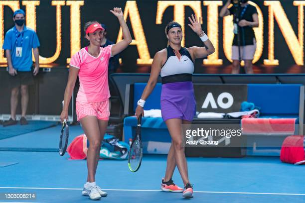 Elise Mertens of Belgium and Aryna Sabalenka of Belarus celebrates after winning their Women's Doubles Final match against Barbora Krejcikova of the...