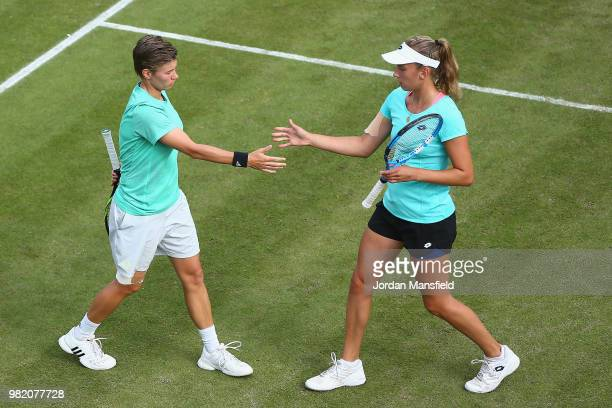 Elise Mertens of Belgium and Demi Schuurs of the Netherlands during their doubles semifinal match against Nicole Melichar of the USA and Kveta...