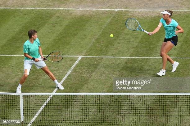 Elise Mertens of Belgium and Demi Schuurs of the Netherlands in action during their doubles semifinal match against Nicole Melichar of the USA and...