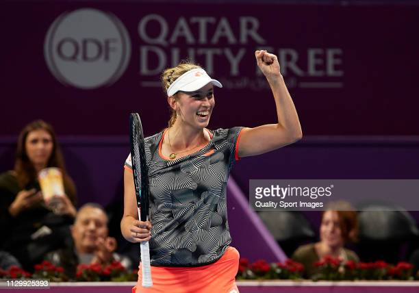 Elise Mertens of Belgium celebrates after winning against Angelique Kerber of Germany during day five of the Qatar Total Open 2019 at Khalifa...
