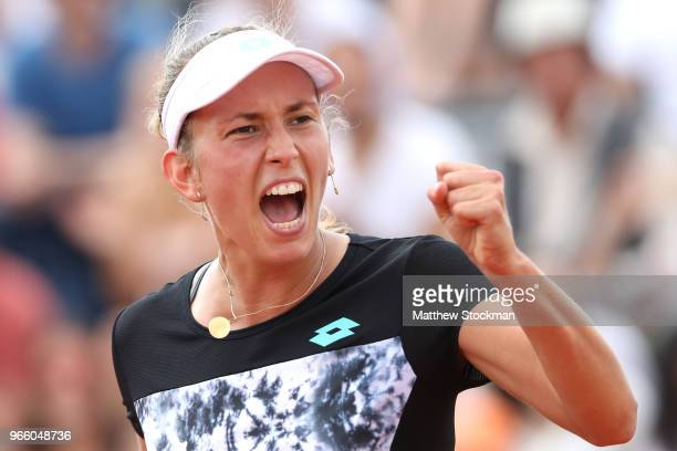Elise Mertens of Belgium celebrates during her ladies singles third round match against Daria Gavrilova of Australia during day seven of the 2018...