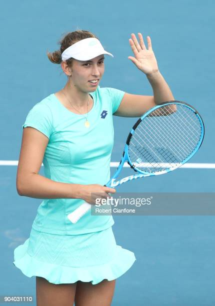 Elise Mertens of Belgium celebrates her win during her semi final singles match against Heather Watson of Great Britain during the 2018 Hobart...
