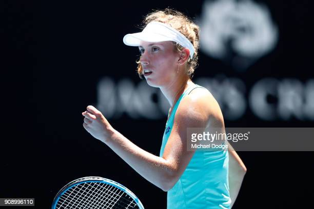 Elise Mertens of Belgium celebrates winning a point in her quarterfinal match against Elina Svitolina of Ukraine on day nine of the 2018 Australian...