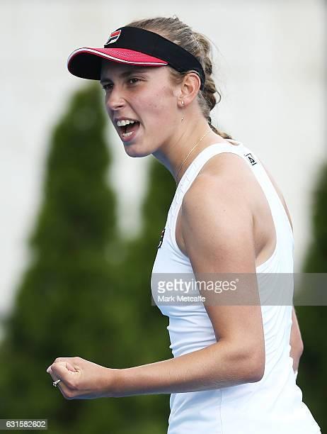 Elise Mertens of Belgium celebrates winning a point in her semi final match against Jana Fett of Croatia during the 2017 Hobart International at...