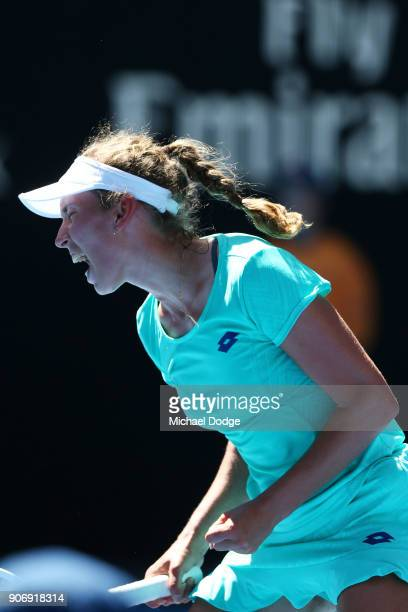 Elise Mertens of Belgium celebrates winning a point in her third round match against Alize Cornet of France on day five of the 2018 Australian Open...