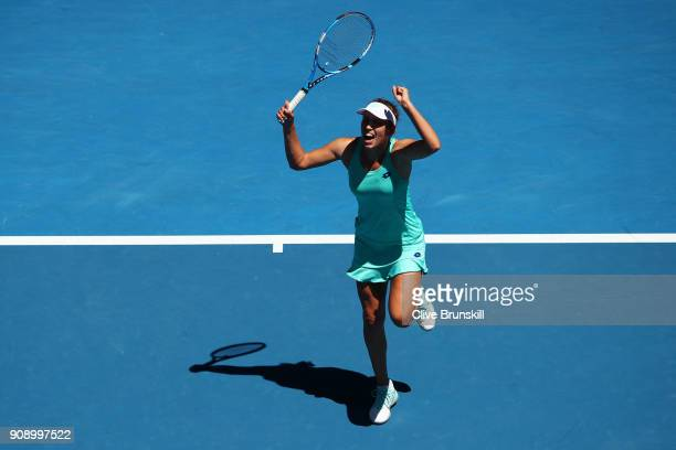 Elise Mertens of Belgium celebrates winning her quarterfinal match against Elina Svitolina of Ukraine on day nine of the 2018 Australian Open at...