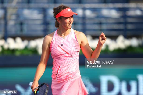 Elise Mertens of Belgium celebrates winning her round of 16 match against Caroline Garcia of France during Day Four of the Dubai Duty Free Tennis at...