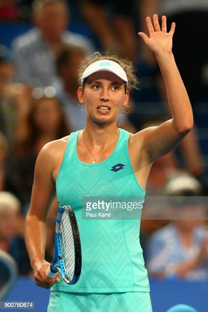 Elise Mertens of Belgium celebrates winning her singles match against Daria Gavrilova of Australia on day five of the 2018 Hopman Cup at Perth Arena...