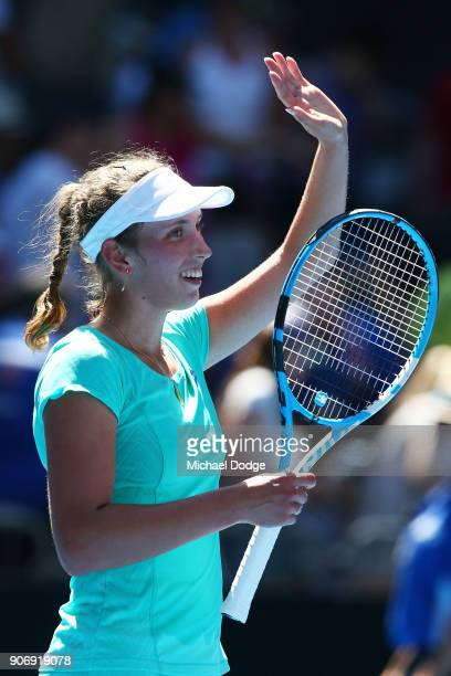 Elise Mertens of Belgium celebrates winning her third round match against Alize Cornet of France on day five of the 2018 Australian Open at Melbourne...