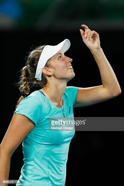 Elise Mertens of Belgium celebrates winning in her second round match against Daria Gavrilova of Australia on day three of the 2018 Australian Open...