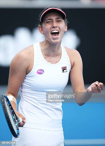 Elise Mertens of Belgium celebrates winning match point in her final match against Monica Niculescu of Romania during the 2017 Hobart International...