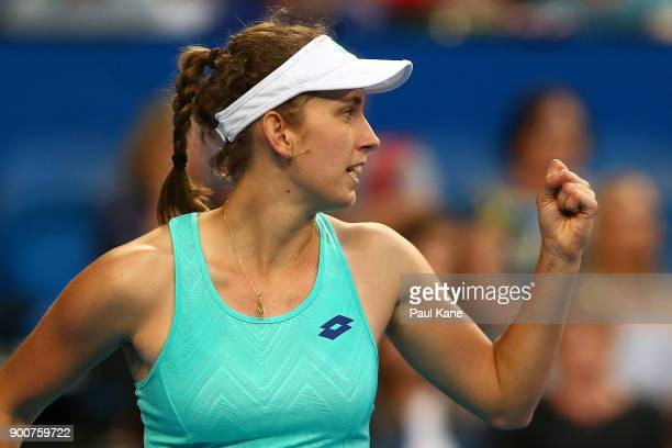 Elise Mertens of Belgium celebrates winning the second set in her singles match against Daria Gavrilova of Australia on day five of the 2018 Hopman...