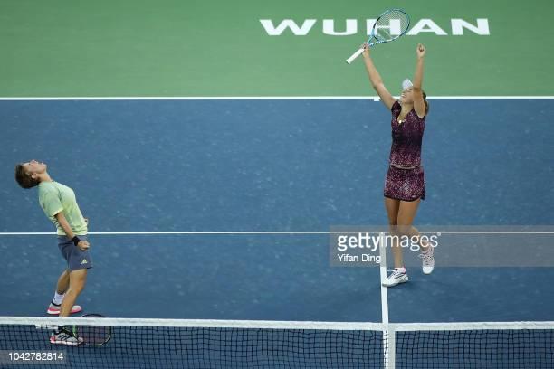 Elise Mertens of Belgium celebrates with Demi Schuurs of Netherlands after winning doubles final against Andrea Sestini Hlavackova of Czech Republic...