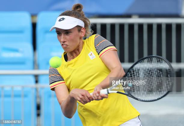Elise Mertens of Belgium during day one of the Tokyo 2020 Olympic Games at Ariake Tennis Park on July 24, 2021 in Tokyo, Japan.