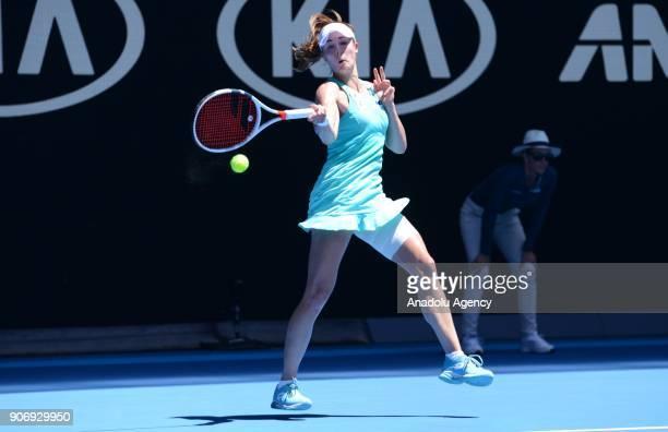 Elise Mertens of Belgium in action against Alize Cornet of France during the 2018 Australia Open at Melbourne Park in Melbourne Australia on January...