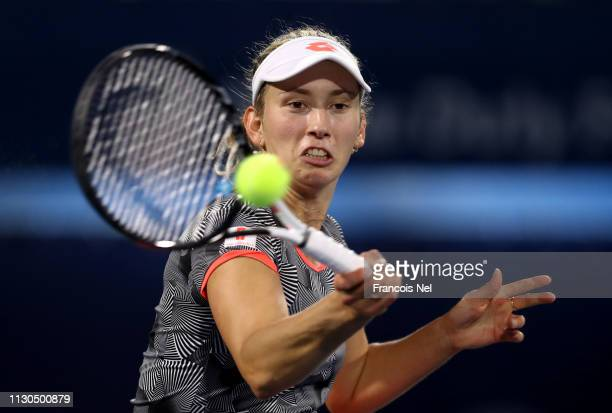 Elise Mertens of Belgium in action against Lin Zhu of China during day two of the WTA Dubai Duty Free Tennis Championship at the Dubai Tennis Stadium...