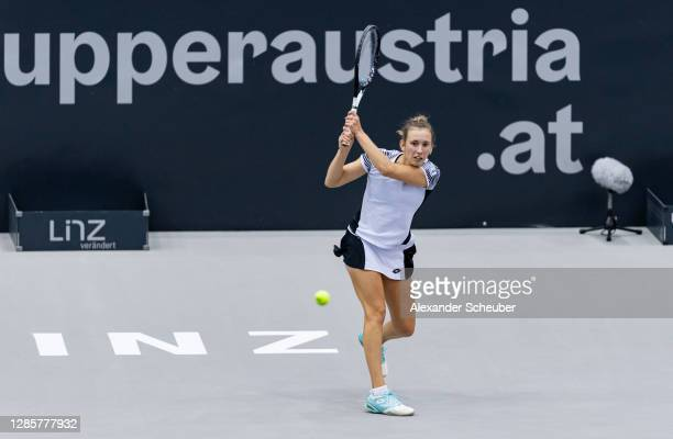 Elise Mertens of Belgium in action during Day 3 of the Upper Austria Ladies Linz at TipsArena Linz on November 11, 2020 in Linz, Austria.