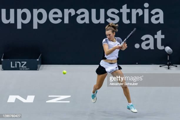 Elise Mertens of Belgium in action during Day 4 of the Upper Austria Ladies Linz at TipsArena Linz on November 12, 2020 in Linz, Austria.
