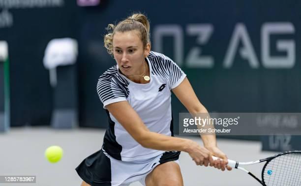 Elise Mertens of Belgium in action during Day 5 of the Upper Austria Ladies Linz at TipsArena Linz on November 13, 2020 in Linz, Austria.