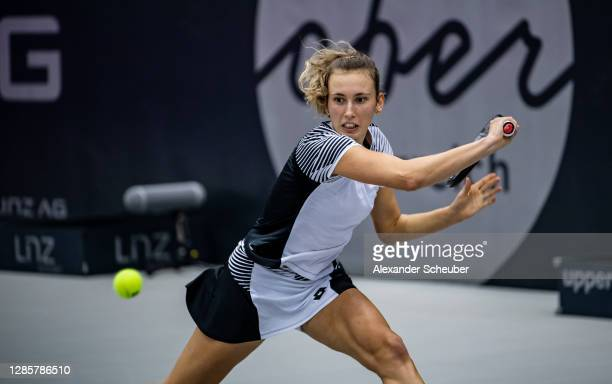Elise Mertens of Belgium in action during Day 6 of the Upper Austria Ladies Linz at TipsArena on November 14, 2020 in Linz, Austria.