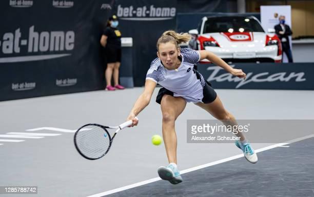 Elise Mertens of Belgium in action during the finals of the Upper Austria Ladies Linz at TipsArena on November 15, 2020 in Linz, Austria.