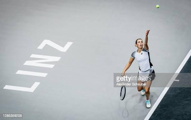 Elise Mertens of Belgium in action during the Upper Austria Ladies Linz Day 4 at TipsArena Linz on November 12, 2020 in Linz, Austria.