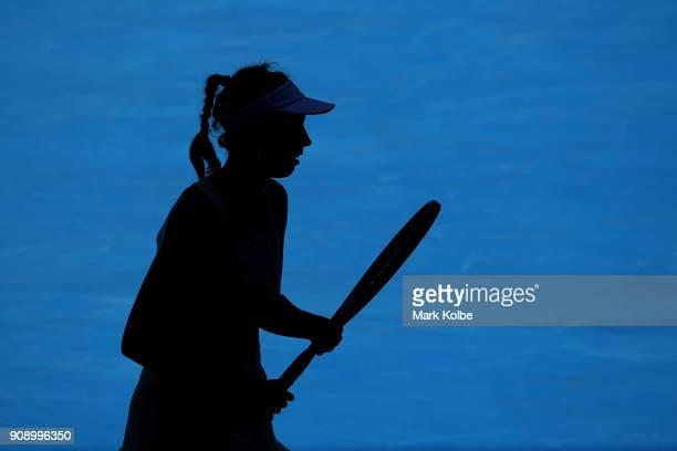 Elise Mertens of Belgium looks on in her quarterfinal match against Elina Svitolina of Ukraine on day nine of the 2018 Australian Open at Melbourne...