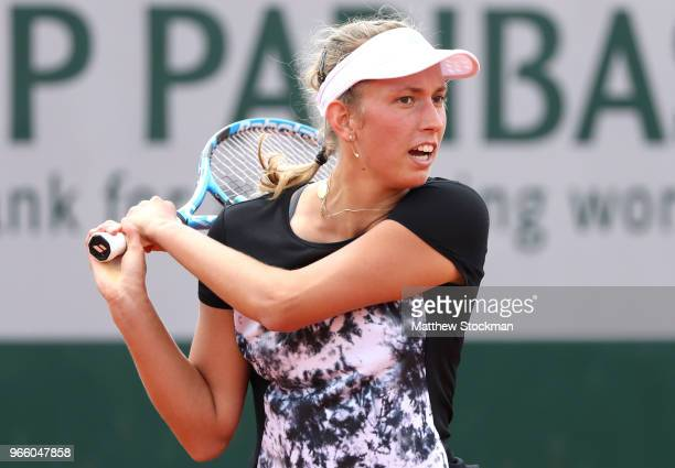 Elise Mertens of Belgium plays a backhand during her ladies singles third round match against Daria Gavrilova of Australia during day seven of the...
