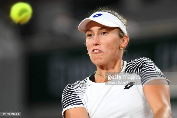 Elise Mertens of Belgium plays a backhand during her Women's Singles third round match against Caroline Garcia of France on day six of the 2020...