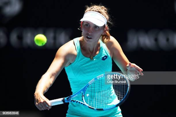 Elise Mertens of Belgium plays a backhand in her quarterfinal match against Elina Svitolina of Ukraine on day nine of the 2018 Australian Open at...