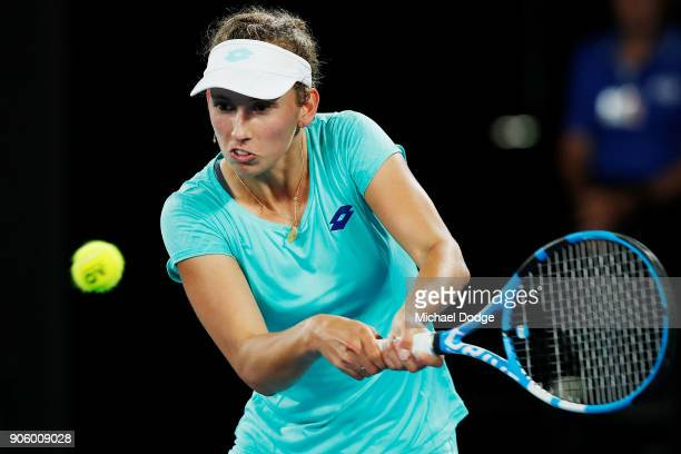 Elise Mertens of Belgium plays a backhand in her second round match against Daria Gavrilova of Australia on day three of the 2018 Australian Open at...