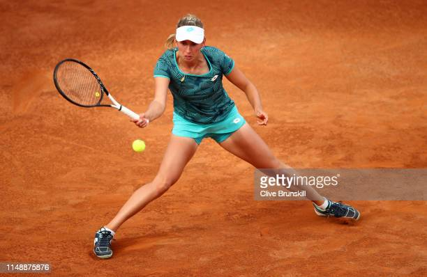 Elise Mertens of Belgium plays a forehand against Venus Williams of the United States in their first round match during day two of the International...