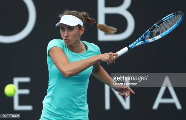 Elise Mertens of Belgium plays a forehand during her singles match againsts Beatriz Haddad Maia of Brazil during the 2018 Hobart International at...