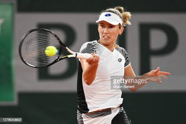 Elise Mertens of Belgium plays a forehand during her Women's Singles third round match against Caroline Garcia of France on day six of the 2020...