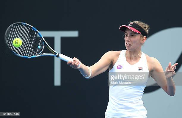 Elise Mertens of Belgium plays a forehand in her final match against Monica Niculescu of Romania during the 2017 Hobart International at Domain...
