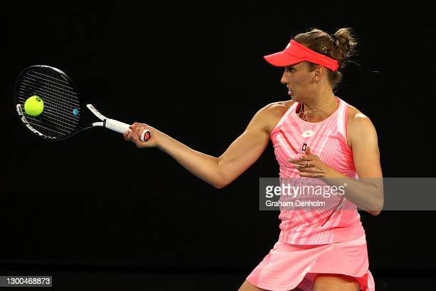 Elise Mertens of Belgium plays a forehand in her match against Elina Svitolina of Ukraine during day six of the WTA 500 Gippsland Trophy at Melbourne...