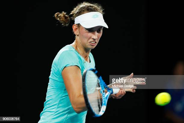 Elise Mertens of Belgium plays a forehand in her second round match against Daria Gavrilova of Australia on day three of the 2018 Australian Open at...
