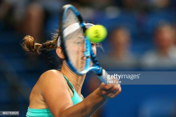 Elise Mertens of Belgium plays a forehand in her singles match against Daria Gavrilova of Australia on day five of the 2018 Hopman Cup at Perth Arena...
